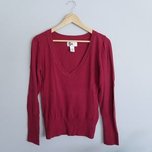 Red SO v-Meck Sweater